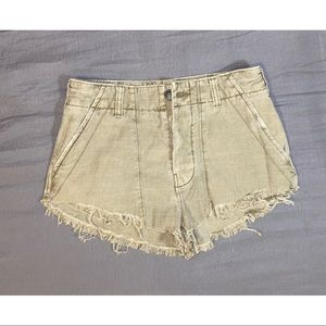free people green cut off high rise shorts